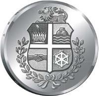 obverse of 5 Florin - Beatrix - Shoco Bird (2012) coin with KM# 50 from Aruba.