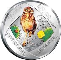 reverse of 5 Florin - Beatrix - Shoco Bird (2012) coin with KM# 50 from Aruba. Inscription: ARUBA 2012 SHOCO ATHENE GUNIGULARIA ARUBENSIS 5 FLORIN NATIONAAL SYMBOOL
