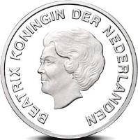 obverse of 5 Florin - Beatrix - 2012 Olympic Games (2012) coin with KM# 45 from Aruba. Inscription: BEATRIX KONINGIN DER NEDERLANDEN
