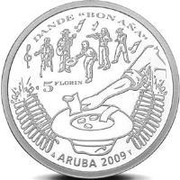 reverse of 5 Florin - Beatrix - Dande (2009) coin with KM# 43 from Aruba. Inscription: DANDE