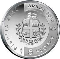reverse of 5 Florin - Willem-Alexander - Royal visit (2013) coin with KM# 54 from Aruba. Inscription: BISHITA REAL ARUBA 2013 5 FLORIN