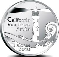 reverse of 5 Florin - Beatrix - Lighthouse California (2010) coin with KM# 46 from Aruba. Inscription: California Vuurtoren Aruba 5 FLORIN 2010