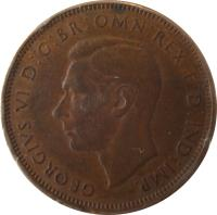 obverse of 1/2 Penny - George VI (1938 - 1939) coin with KM# 35 from Australia. Inscription: GEORGIVS VI D:G:BR:OMN:REX F:D:IND:IMP.