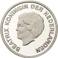 obverse of 5 Florin - Beatrix - Year of the Dolphin (2007) coin with KM# 41 from Aruba. Inscription: BEATRIX KONINGIN DER NEDERLANDEN