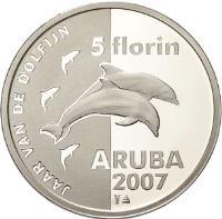 reverse of 5 Florin - Beatrix - Year of the Dolphin (2007) coin with KM# 41 from Aruba. Inscription: 5 florin JAAR VAN DE DOLFIJN ARUBA 2007