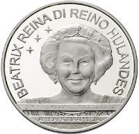 obverse of 10 Florin - Beatrix - Flag, Anthem, Status Aparte (2006) coin with KM# 36 from Aruba. Inscription: BEATRIX REINA DI REINO HULANDES ARUBA PATRIA APRECIA