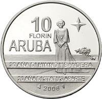 reverse of 10 Florin - Beatrix - Flag, Anthem, Status Aparte (2006) coin with KM# 36 from Aruba. Inscription: 10 FLORIN ARUBA 30 AÑA DI HIMNO Y BANDERA 20 AÑA DI STATUS APARTE 2006