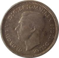 obverse of 3 Pence - George VI (1938 - 1944) coin with KM# 37 from Australia. Inscription: GEORGIVS VI D:G:BR OMN:REX F:D:IND:IMP. HP
