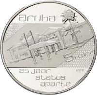 reverse of 5 Florin - Beatrix - Status Aparte (2011) coin with KM# 47 from Aruba. Inscription: aruba 10 florin 25 jaar satus aparte 2011