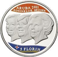 reverse of 5 Florin - Beatrix - Royal visit (2011) coin with KM# 48 from Aruba. Inscription: ARUBA 2011 KONINKLIJK BEZOEK 5 FLORIN