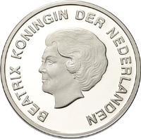 obverse of 5 Florin - Beatrix - San Juan Festival (2008) coin with KM# 42 from Aruba. Inscription: BEATRIX KONINGIN DER NEDERLANDEN