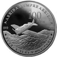 obverse of 1 Sol - 100 years of the Peruvian Air Force (2019) coin from Peru. Inscription: ARRIBA SIEMPRE ARRIBA 100 Años 1919 2019 FUERZA AÉREA DEL PERÚ