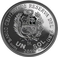 reverse of 1 Sol - 100 years of the Peruvian Air Force (2019) coin from Peru. Inscription: BANCO CENTRAL DE RESERVA DEL PERÚ LIMA UN SOL 33.625 g PLATA 0.925 2019