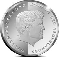 obverse of 5 Florin - Willem-Alexander - Investiture (2013) coin with KM# 53 from Aruba. Inscription: WILLEM-ALEXANDER KONING DER NEDERLANDEN EK