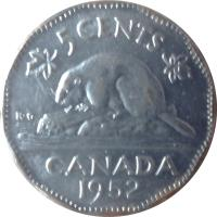 reverse of 5 Cents - George VI (1951 - 1952) coin with KM# 42a from Canada. Inscription: 5 CENTS CANADA 1951 K · G