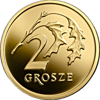 reverse of 2 Grosze - One Hundred Years of the Złoty (2019) coin from Poland. Inscription: 2 GROSZE