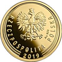 obverse of 5 Groszy - One Hundred Years of the Złoty (2019) coin from Poland. Inscription: mw Au 900 RZECZPOSPOLITA POLSKA 2019