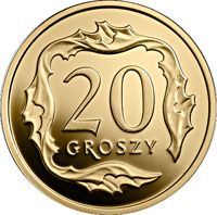 reverse of 20 Groszy - One Hundred Years of the Złoty (2019) coin from Poland. Inscription: 20 GROSZY