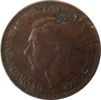 obverse of 1 Penny - George VI - With IND:IMP (1938 - 1948) coin with KM# 36 from Australia. Inscription: GEORGIVS VI D:G:BR:OMN:REX F:D:IND:IMP. HP