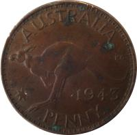 reverse of 1 Penny - George VI - With IND:IMP (1938 - 1948) coin with KM# 36 from Australia. Inscription: AUSTRALIA KG 1946 PENNY