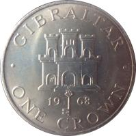 reverse of 1 Crown - Elizabeth II - 2'nd Portrait (1967 - 1970) coin with KM# 4 from Gibraltar. Inscription: GIBRALTAR 19 67 · ONE CROWN ·