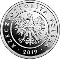 obverse of 50 Groszy - One Hundred Years of the Złoty (2019) coin from Poland. Inscription: mw Ag 925 RZECZPOSPOLITA POLSKA 2019
