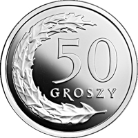 reverse of 50 Groszy - One Hundred Years of the Złoty (2019) coin from Poland. Inscription: 50 GROSZY