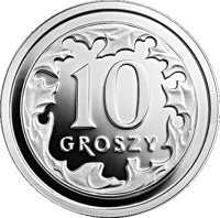 reverse of 10 Groszy - One Hundred Years of the Złoty (2019) coin from Poland. Inscription: 10 GROSZY