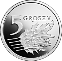 reverse of 5 Groszy - One Hundred Years of the Złoty (2019) coin from Poland. Inscription: 5 GROSZY