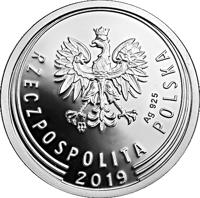 obverse of 2 Grosze - One Hundred Years of the Złoty (2019) coin from Poland. Inscription: mw Ag 925 RZECZPOSPOLITA POLSKA 2019