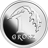 reverse of 1 Grosz - One Hundred Years of the Złoty (2019) coin from Poland. Inscription: 1 GROSZ