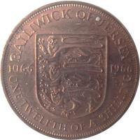 reverse of 1/12 Shilling - Elizabeth II - Battle of Hastings - 1'st Portrait (1966) coin with KM# 26 from Jersey. Inscription: BAILIWICK OF JERSEY 1066 1966 ONE TWELFTH OF A SHILLING