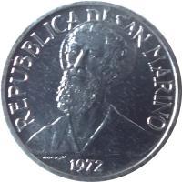 obverse of 1 Lira (1972) coin with KM# 14 from San Marino. Inscription: REPUBBLICA DI SAN MARINO 1972