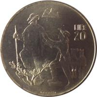 reverse of 20 Lire (1972) coin with KM# 18 from San Marino. Inscription: LIRE 20