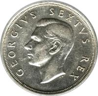 obverse of 5 Shillings - George VI - Cape Town Anniversary (1952) coin with KM# 41 from South Africa. Inscription: GEORGIVS SEXTVS REX