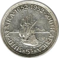 reverse of 5 Shillings - George VI - Cape Town Anniversary (1952) coin with KM# 41 from South Africa. Inscription: SUID-AFRIKA · 1652-1952 · SOUTH AFRICA *5s* MW VOC