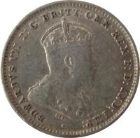 obverse of 3 Pence - Edward VII (1910) coin with KM# 18 from Australia. Inscription: EDWARDVS VII D:G:BRITT:OMN:REX F:D:IND:IMP: ·