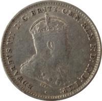 obverse of 3 Pence - Edward VII (1910) coin with KM# 18 from Australia. Inscription: EDWARDVS VII D:G:BRITT:OMN:REX F:D:IND:IMP: ·