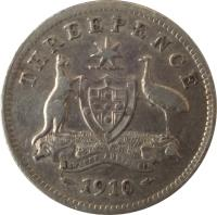 reverse of 3 Pence - Edward VII (1910) coin with KM# 18 from Australia. Inscription: THREEPENCE ADVANCE AUSTRALIA 1910