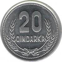 reverse of 20 Qindarka (1988) coin with KM# 65 from Albania. Inscription: 20 QINDARKA