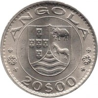 obverse of 20 Escudos (1971 - 1972) coin with KM# 80 from Angola. Inscription: ANGOLA 20$00
