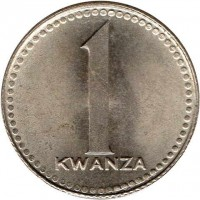 reverse of 1 Kwanza (1977 - 1979) coin with KM# 83 from Angola. Inscription: 1 KWANZA