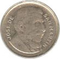 obverse of 5 Centavos - Reeded edge (1951 - 1953) coin with KM# 46 from Argentina. Inscription: JOSE DE SAN MARTIN