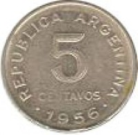 reverse of 5 Centavos - Reeded edge (1951 - 1953) coin with KM# 46 from Argentina. Inscription: .REPUBLICA ARGENTINA. 1952 5 CENTAVOS