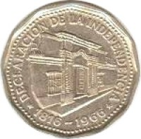 obverse of 10 Pesos - Declaration of Independence (1966) coin with KM# 62 from Argentina. Inscription: DECLARACION DE LA INDEPENDENCIA 1816-1966