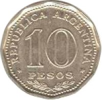 reverse of 10 Pesos - Declaration of Independence (1966) coin with KM# 62 from Argentina. Inscription: * REPUBLICA ARGENTINA * 10 PESOS
