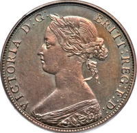 obverse of 1 Cent - Victoria (1865) coin with KM# Pn7 from Canada. Inscription: VICTORIA D: G: BRITT: REG: F: D: