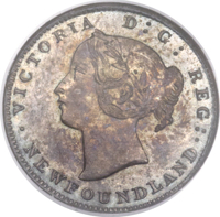 obverse of 5 Cents - Victoria (1864) coin with KM# Pn3 from Canada. Inscription: VICTORIA D: G: REG: NEWFOUNDLAND