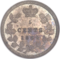 reverse of 5 Cents - Victoria (1864) coin with KM# Pn3 from Canada. Inscription: 5 CENTS 1864