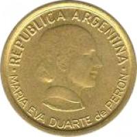 obverse of 50 Centavos - Women's Vote (1997) coin with KM# 121 from Argentina. Inscription: REPUBLICA ARGENTINA . MARIA EVA DUARTE de PERON .